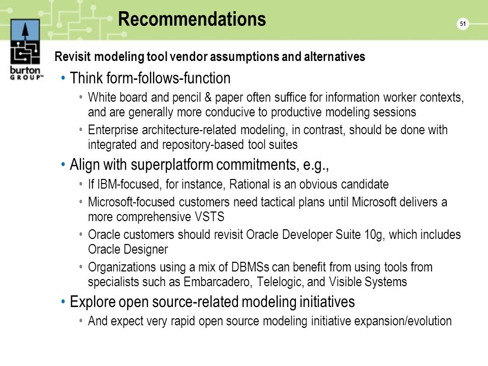 51 Recommendations Revisit modeling tool vendor assumptions and alternatives Think form-follows-function White board and pencil & paper often suffice for information worker contexts, and are generally more conducive to productive modeling sessions Enterprise architecture-related modeling, in contrast, should be done with integrated and repository-based tool suites Align with superplatform commitments, e.g., If IBM-focused, for instance, Rational is an obvious candidate Microsoft-focused customers need tactical plans until Microsoft delivers a more comprehensive VSTS Oracle customers should revisit Oracle Developer Suite 10g, which includes Oracle Designer Organizations using a mix of DBMSs can benefit from using tools from specialists such as Embarcadero, Telelogic, and Visible Systems Explore open source-related modeling initiatives And expect very rapid open source modeling initiative expansion/evolution