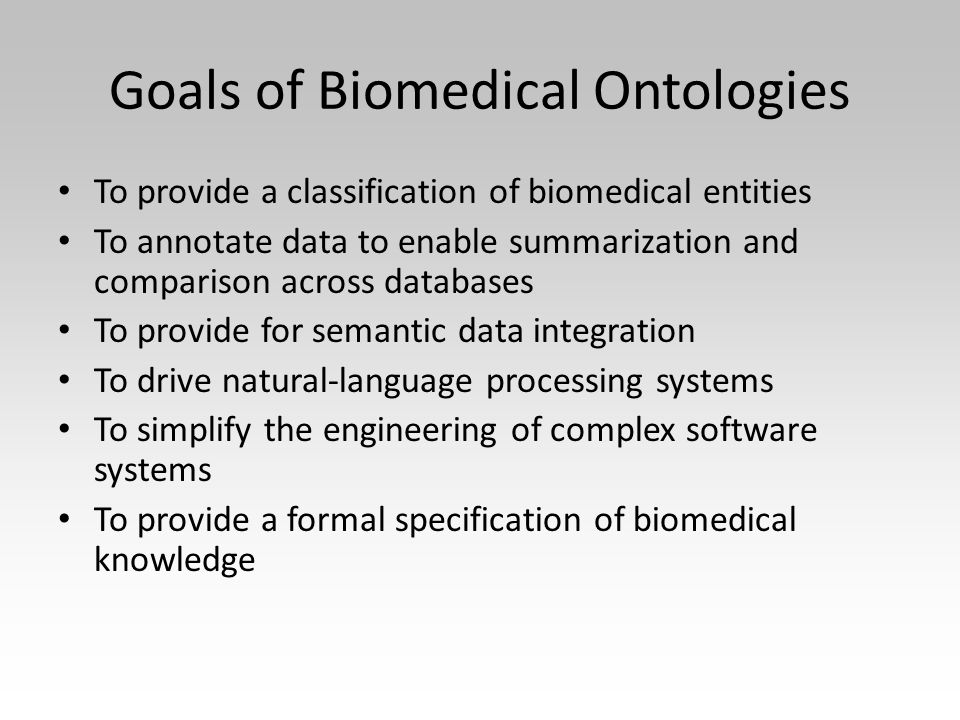 Goals of Biomedical Ontologies To provide a classification of biomedical entities To annotate data to enable summarization and comparison across databases To provide for semantic data integration To drive natural-language processing systems To simplify the engineering of complex software systems To provide a formal specification of biomedical knowledge