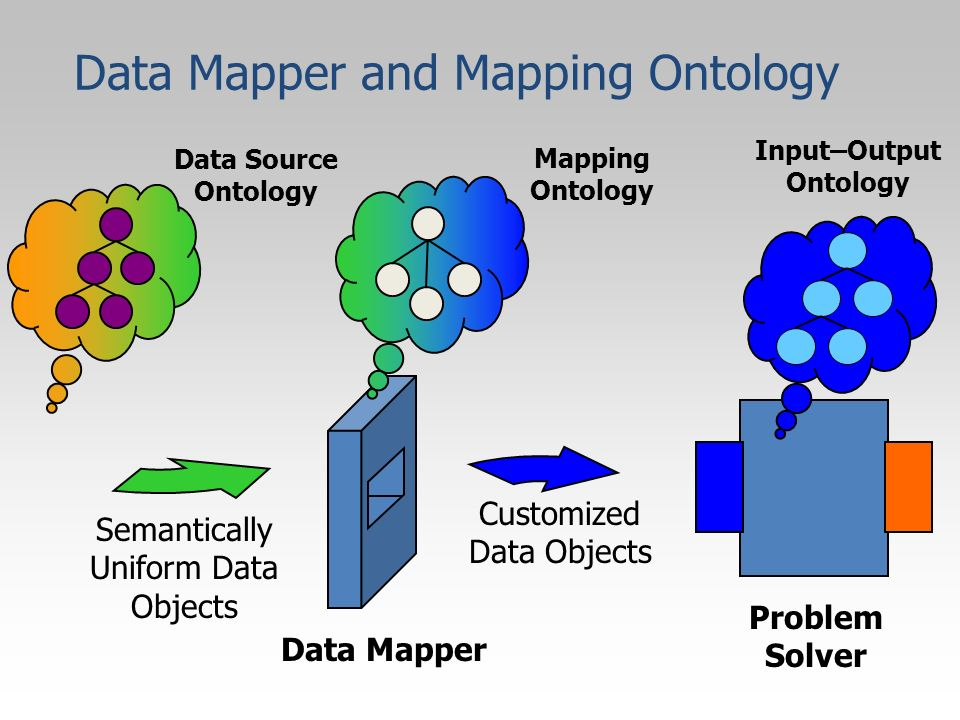 Semantically Uniform Data Objects Data Mapper Customized Data Objects Mapping Ontology Data Source Ontology Input–Output Ontology Problem Solver Data