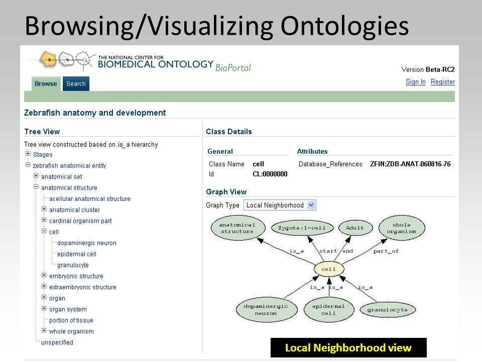 Local Neighborhood view Browsing/Visualizing Ontologies