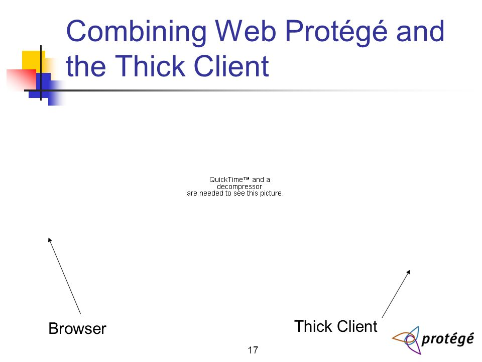 17 Combining Web Protégé and the Thick Client Browser Thick Client