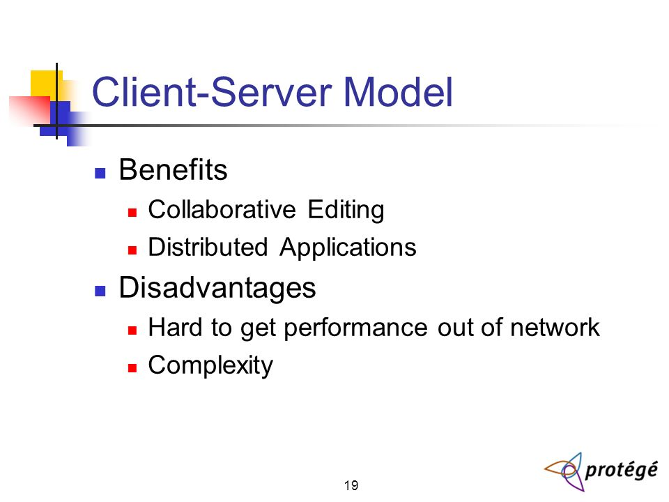 19 Client-Server Model Benefits Collaborative Editing Distributed Applications Disadvantages Hard to get performance out of network Complexity