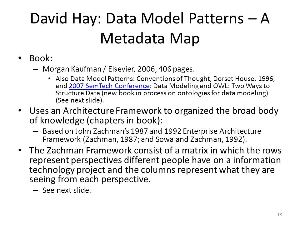 13 David Hay: Data Model Patterns – A Metadata Map Book: – Morgan Kaufman / Elsevier, 2006, 406 pages. Also Data Model Patterns: Conventions of Though