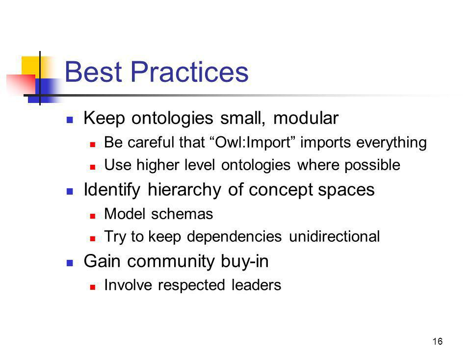 16 Best Practices Keep ontologies small, modular Be careful that Owl:Import imports everything Use higher level ontologies where possible Identify hierarchy of concept spaces Model schemas Try to keep dependencies unidirectional Gain community buy-in Involve respected leaders