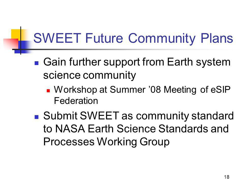 18 SWEET Future Community Plans Gain further support from Earth system science community Workshop at Summer 08 Meeting of eSIP Federation Submit SWEET as community standard to NASA Earth Science Standards and Processes Working Group