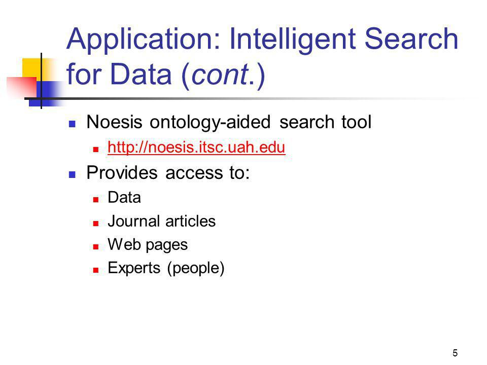 5 Application: Intelligent Search for Data (cont.) Noesis ontology-aided search tool http://noesis.itsc.uah.edu Provides access to: Data Journal articles Web pages Experts (people)