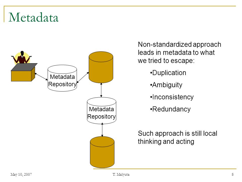 May 10, 2007T. Malyuta 8 Metadata Repository Non-standardized approach leads in metadata to what we tried to escape: Duplication Ambiguity Inconsisten