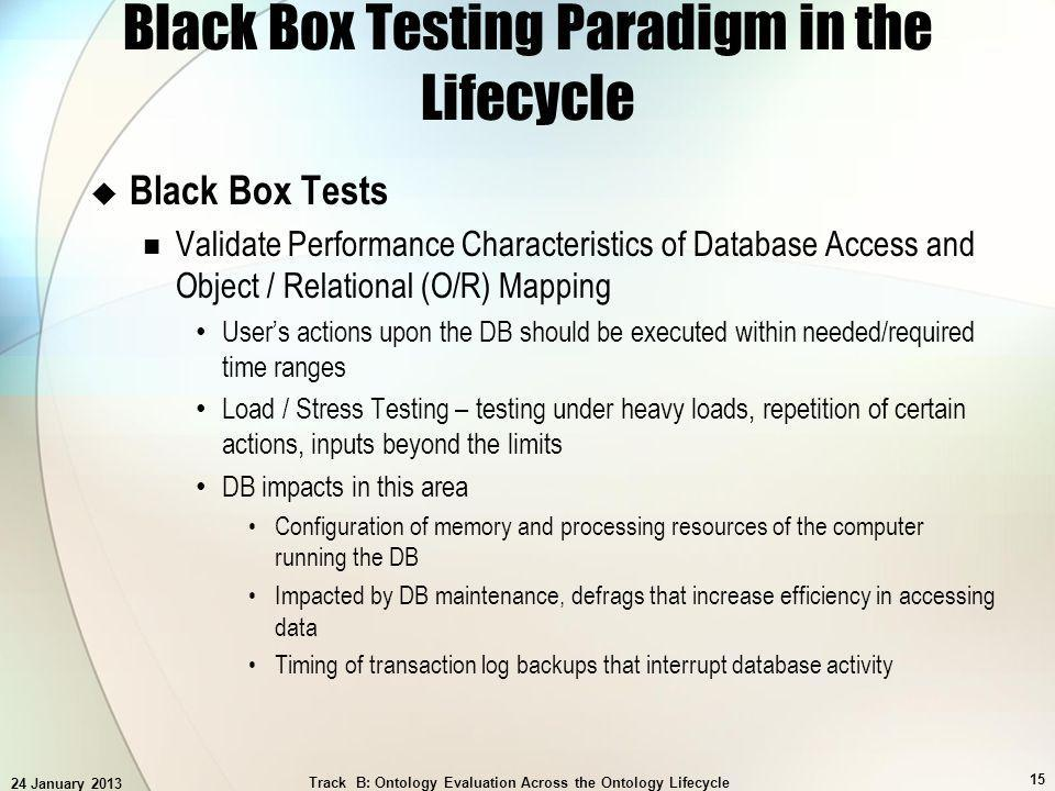 24 January 2013 Track B: Ontology Evaluation Across the Ontology Lifecycle 15 Black Box Testing Paradigm in the Lifecycle Black Box Tests Validate Performance Characteristics of Database Access and Object / Relational (O/R) Mapping Users actions upon the DB should be executed within needed/required time ranges Load / Stress Testing – testing under heavy loads, repetition of certain actions, inputs beyond the limits DB impacts in this area Configuration of memory and processing resources of the computer running the DB Impacted by DB maintenance, defrags that increase efficiency in accessing data Timing of transaction log backups that interrupt database activity