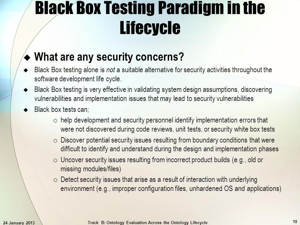 24 January 2013 Track B: Ontology Evaluation Across the Ontology Lifecycle 18 Black Box Testing Paradigm in the Lifecycle What are any security concer