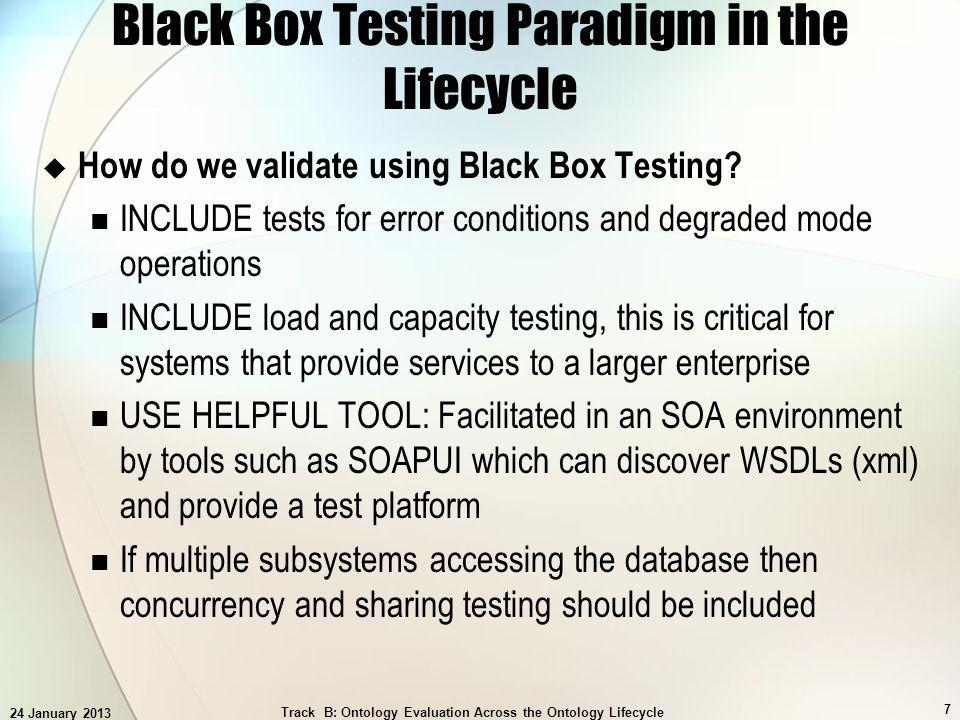 24 January 2013 Track B: Ontology Evaluation Across the Ontology Lifecycle 8 Black Box Testing Paradigm in the Lifecycle How Well Can We Measure the Completeness and Goodness of this Testing.