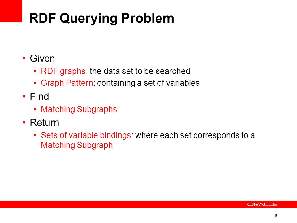 15 RDF Querying Problem Given RDF graphs: the data set to be searched Graph Pattern: containing a set of variables Find Matching Subgraphs Return Sets of variable bindings: where each set corresponds to a Matching Subgraph