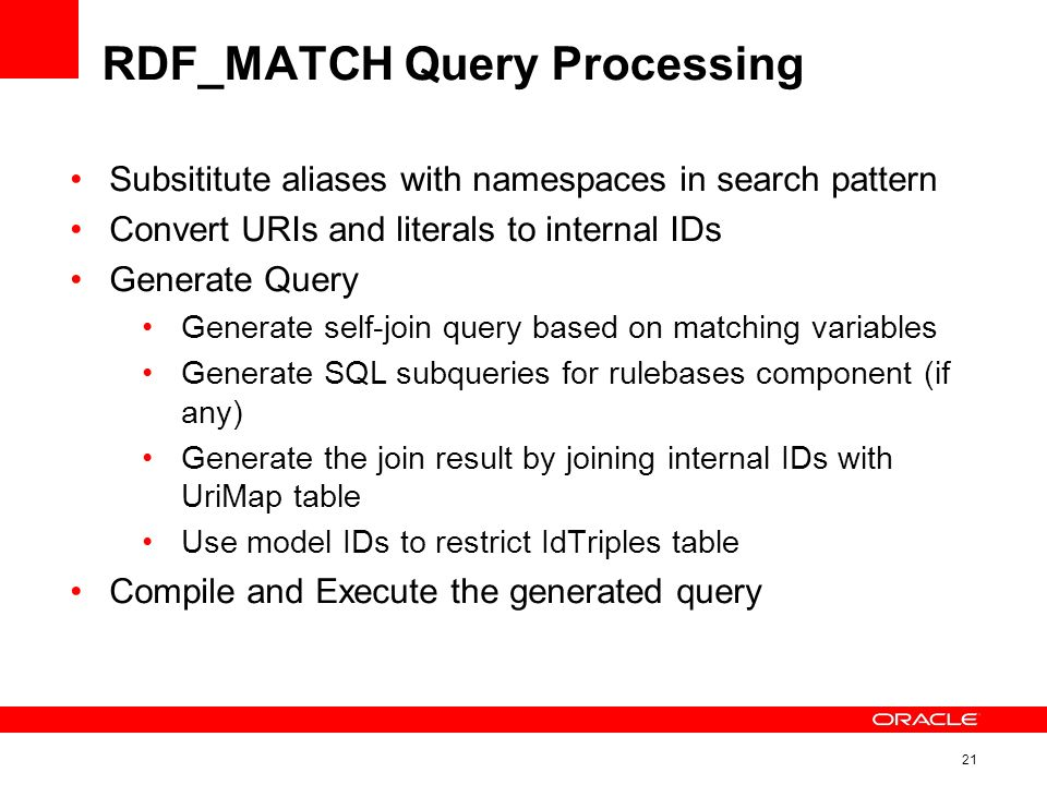21 RDF_MATCH Query Processing Subsititute aliases with namespaces in search pattern Convert URIs and literals to internal IDs Generate Query Generate self-join query based on matching variables Generate SQL subqueries for rulebases component (if any) Generate the join result by joining internal IDs with UriMap table Use model IDs to restrict IdTriples table Compile and Execute the generated query
