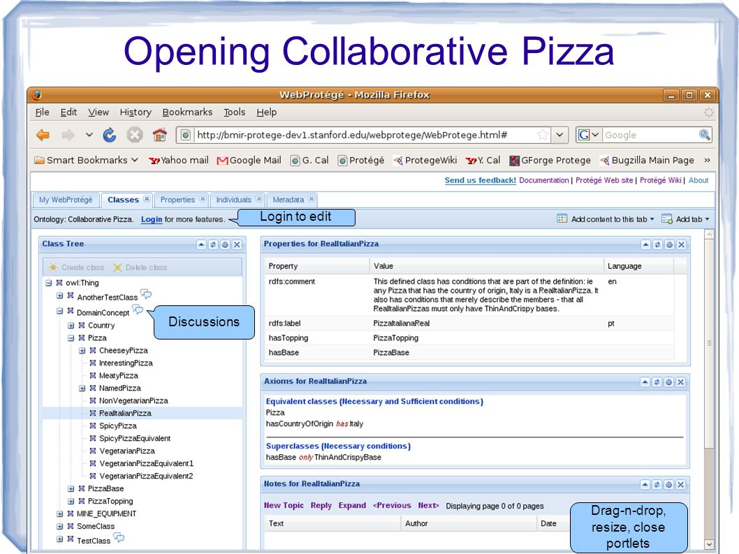 16 Opening Collaborative Pizza Discussions Login to edit Drag-n-drop, resize, close portlets
