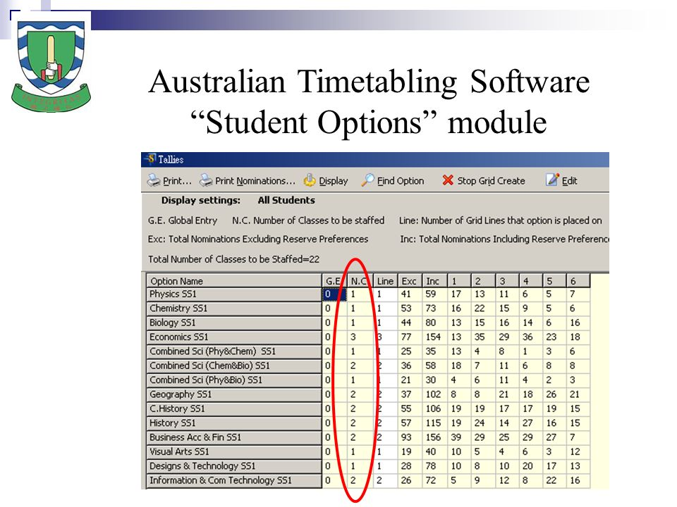 Australian Timetabling Software Student Options module