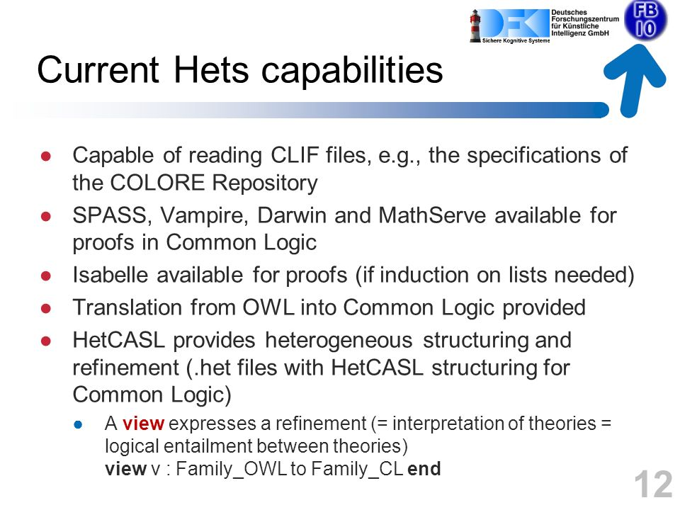 Demonstration simple example: Cat(kitty) Parsing, proving duration.clif from Colore Hets logic graph View from OWL ontology to CL ontology Translation OWL CL Consistency 13