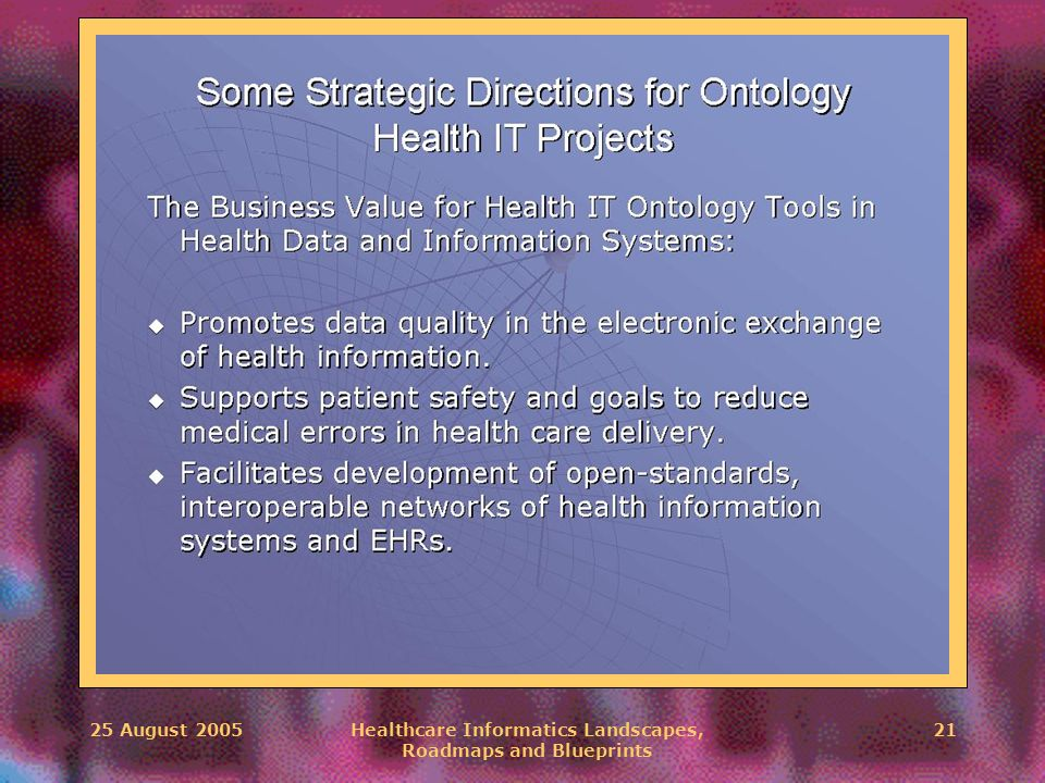 25 August 2005Healthcare Informatics Landscapes, Roadmaps and Blueprints 21 \