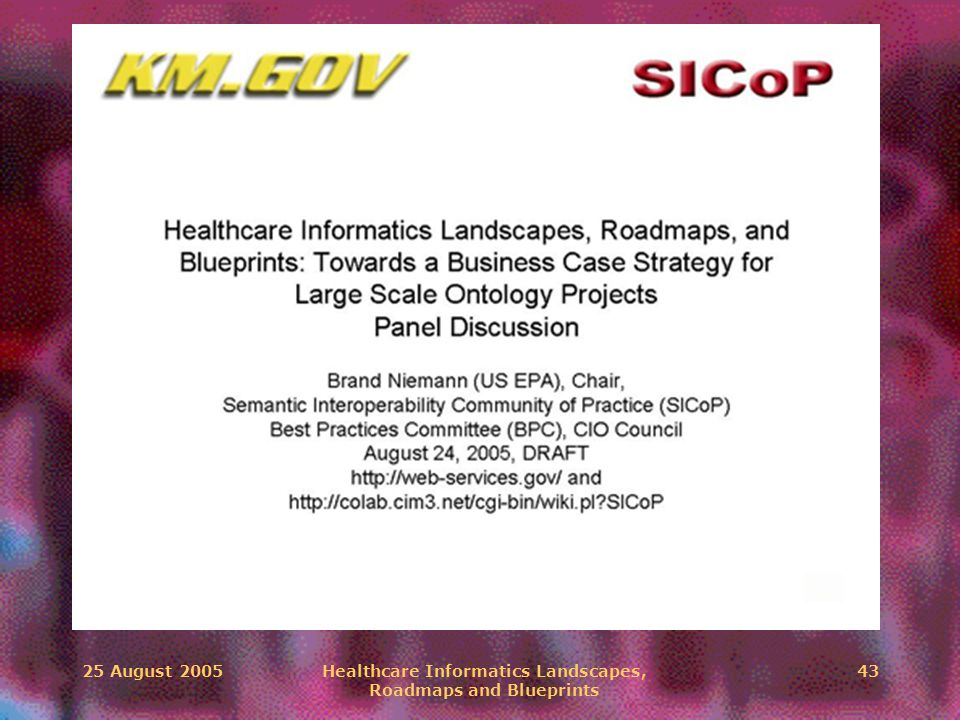25 August 2005Healthcare Informatics Landscapes, Roadmaps and Blueprints 43