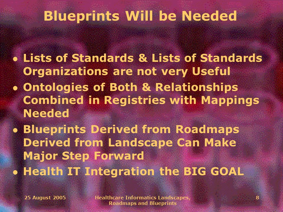 25 August 2005Healthcare Informatics Landscapes, Roadmaps and Blueprints 8 Blueprints Will be Needed l Lists of Standards & Lists of Standards Organiz
