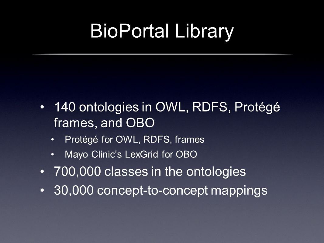 BioPortal Library 140 ontologies in OWL, RDFS, Protégé frames, and OBO Protégé for OWL, RDFS, frames Mayo Clinics LexGrid for OBO 700,000 classes in the ontologies 30,000 concept-to-concept mappings