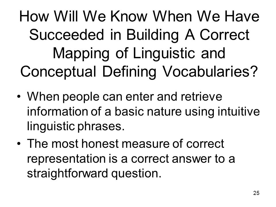 25 How Will We Know When We Have Succeeded in Building A Correct Mapping of Linguistic and Conceptual Defining Vocabularies.