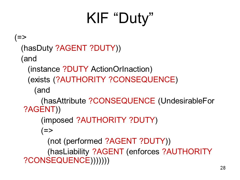 28 KIF Duty (=> (hasDuty AGENT DUTY)) (and (instance DUTY ActionOrInaction) (exists ( AUTHORITY CONSEQUENCE) (and (hasAttribute CONSEQUENCE (UndesirableFor AGENT)) (imposed AUTHORITY DUTY) (=> (not (performed AGENT DUTY)) (hasLiability AGENT (enforces AUTHORITY CONSEQUENCE)))))))