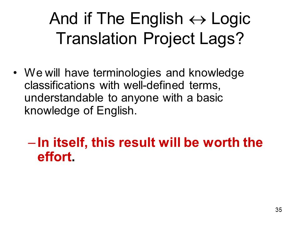 35 And if The English Logic Translation Project Lags.