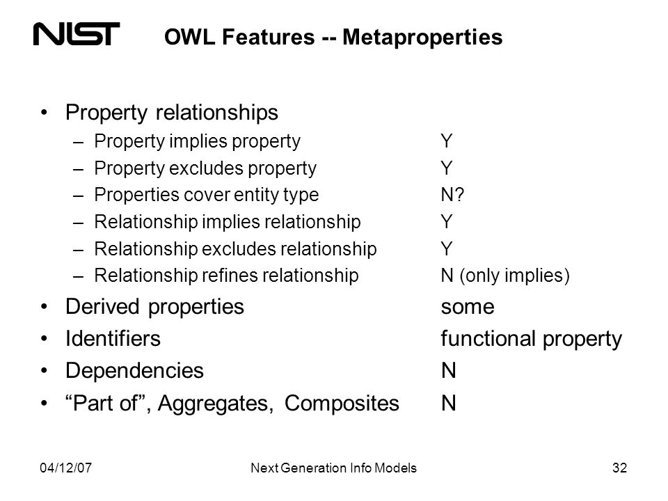 04/12/07Next Generation Info Models32 OWL Features -- Metaproperties Property relationships –Property implies property Y –Property excludes propertyY –Properties cover entity typeN.