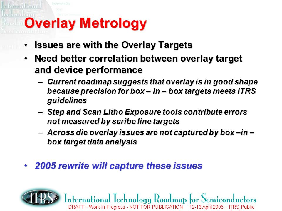 DRAFT – Work In Progress - NOT FOR PUBLICATION 12-13 April 2005 – ITRS Public Conference Overlay Metrology Issues are with the Overlay TargetsIssues a