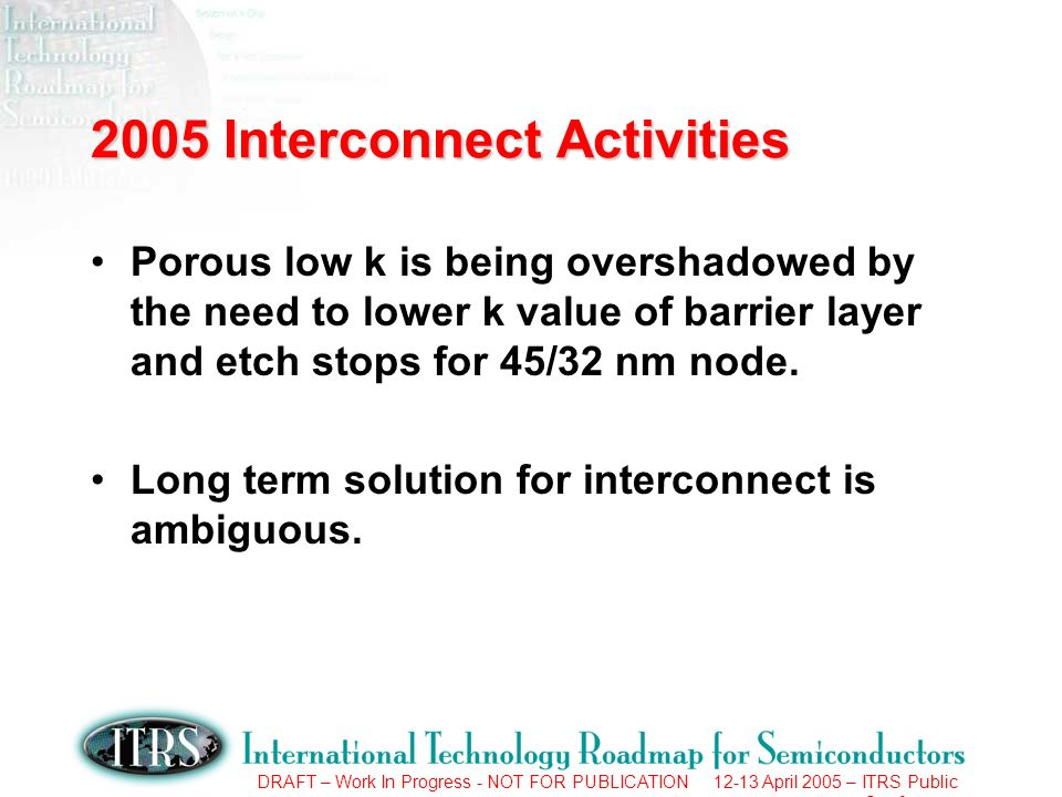 DRAFT – Work In Progress - NOT FOR PUBLICATION 12-13 April 2005 – ITRS Public Conference 2005 Interconnect Activities Porous low k is being overshadow