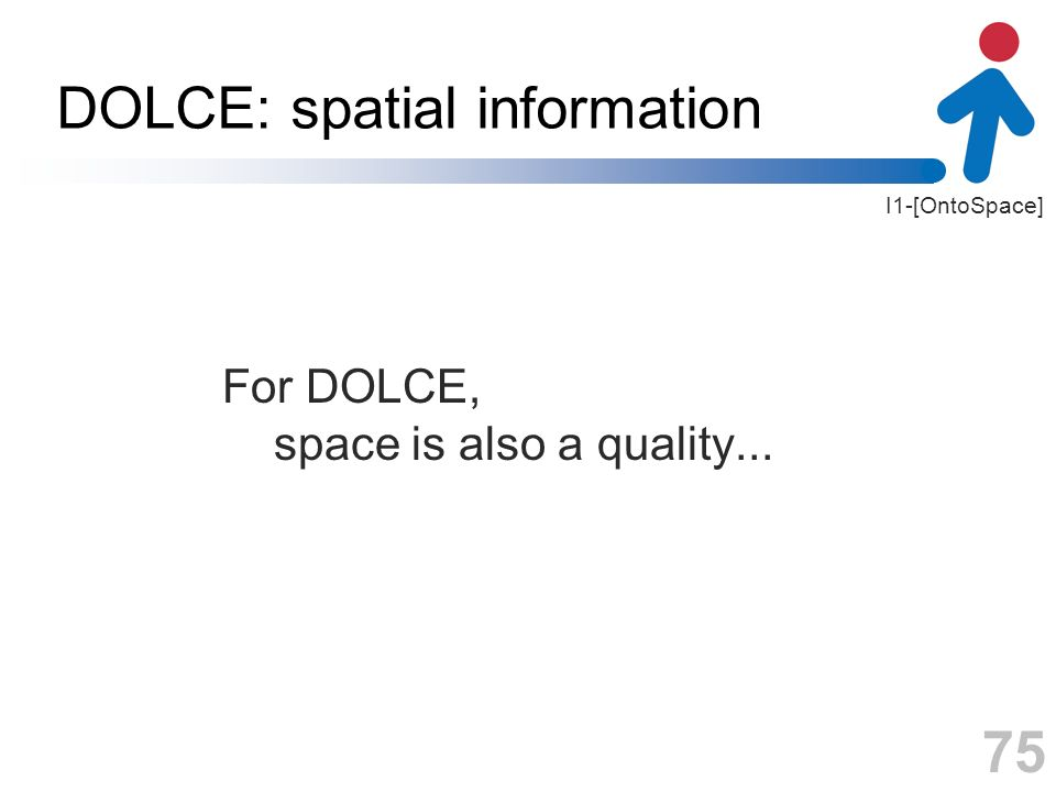 I1-[OntoSpace] DOLCE: spatial information For DOLCE, space is also a quality... 75