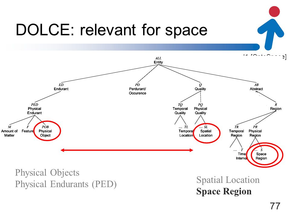 I1-[OntoSpace] DOLCE: relevant for space Physical Objects Physical Endurants (PED) Spatial Location Space Region 77