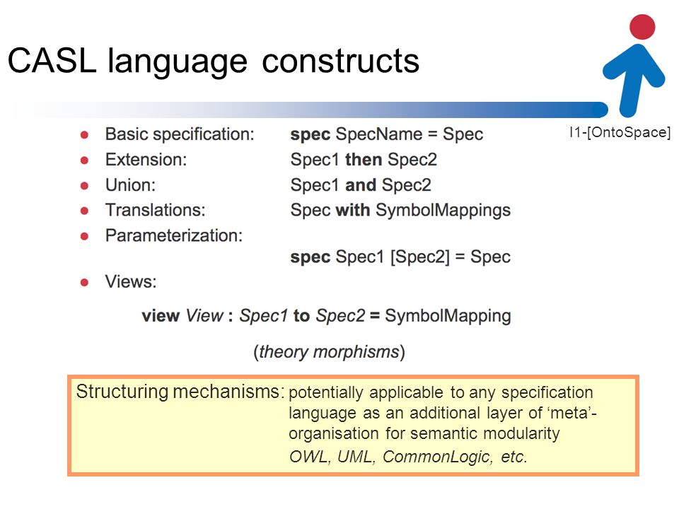 I1-[OntoSpace] CASL language constructs Structuring mechanisms: potentially applicable to any specification language as an additional layer of meta- o
