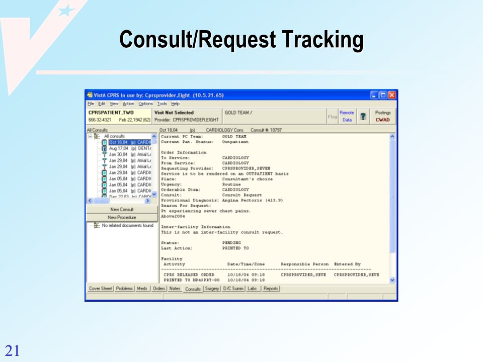 21 Consult/Request Tracking 21