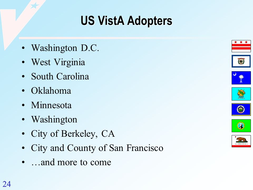 24 US VistA Adopters Washington D.C. West Virginia South Carolina Oklahoma Minnesota Washington City of Berkeley, CA City and County of San Francisco