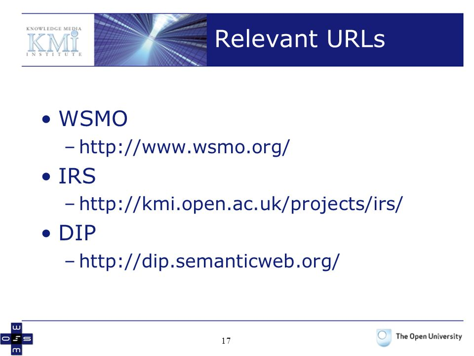 17 Relevant URLs WSMO –http://www.wsmo.org/ IRS –http://kmi.open.ac.uk/projects/irs/ DIP –http://dip.semanticweb.org/