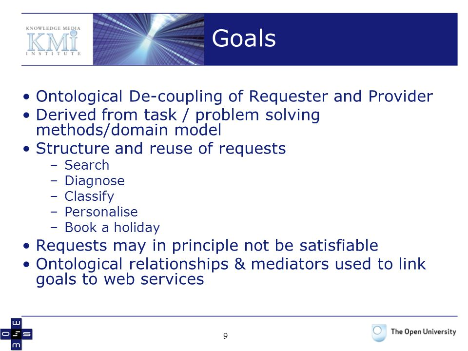 9 Goals Ontological De-coupling of Requester and Provider Derived from task / problem solving methods/domain model Structure and reuse of requests –Search –Diagnose –Classify –Personalise –Book a holiday Requests may in principle not be satisfiable Ontological relationships & mediators used to link goals to web services