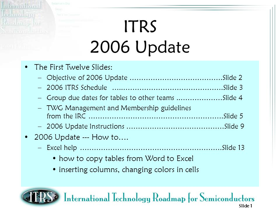 Slide 1 ITRS 2006 Update The First Twelve Slides: –Objective of 2006 Update ………………………………….Slide 2 –2006 ITRS Schedule …..…………………………………….Slide 3 –Group due dates for tables to other teams..………………Slide 4 –TWG Management and Membership guidelines from the IRC ………………………………………………….Slide 5 –2006 Update Instructions ……………………………………Slide Update --- How to….