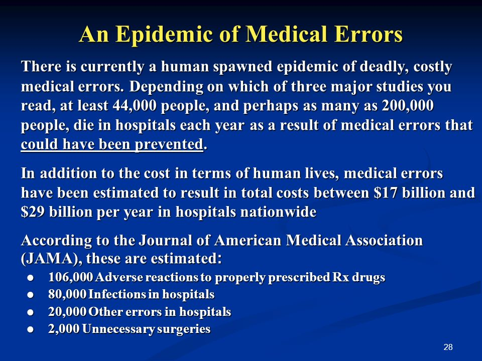28 An Epidemic of Medical Errors There is currently a human spawned epidemic of deadly, costly medical errors.