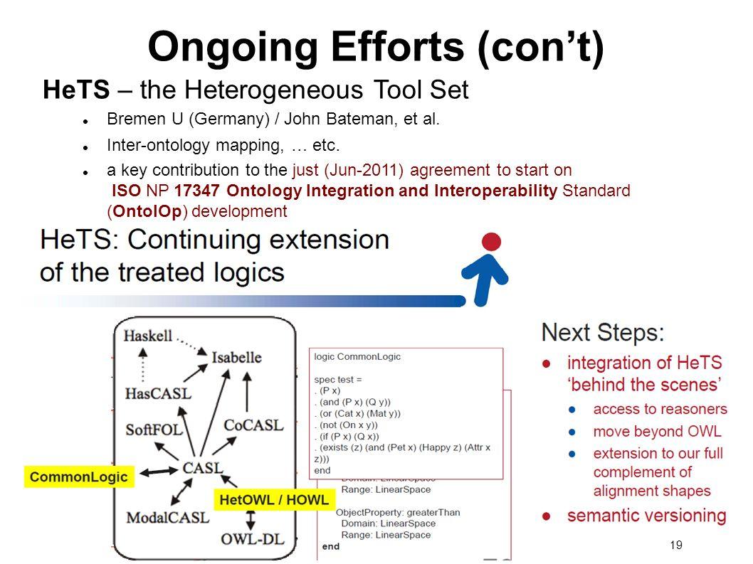 19 Ongoing Efforts (cont) HeTS – the Heterogeneous Tool Set Bremen U (Germany) / John Bateman, et al.