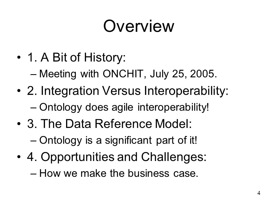 4 Overview 1.A Bit of History: –Meeting with ONCHIT, July 25, 2005.