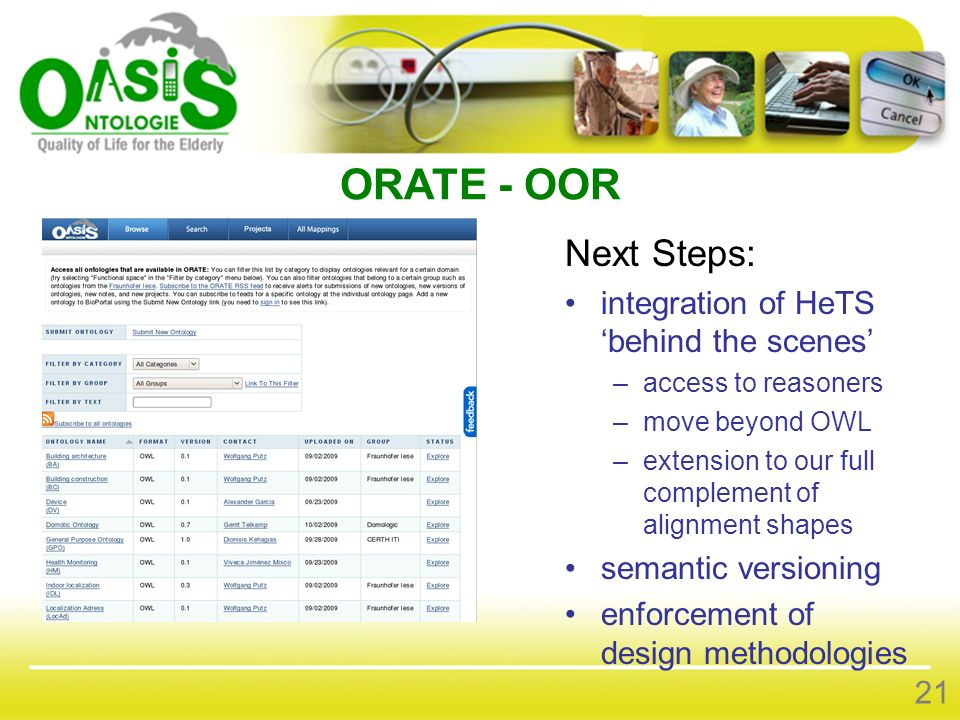 ORATE - OOR Next Steps: integration of HeTS behind the scenes –access to reasoners –move beyond OWL –extension to our full complement of alignment sha