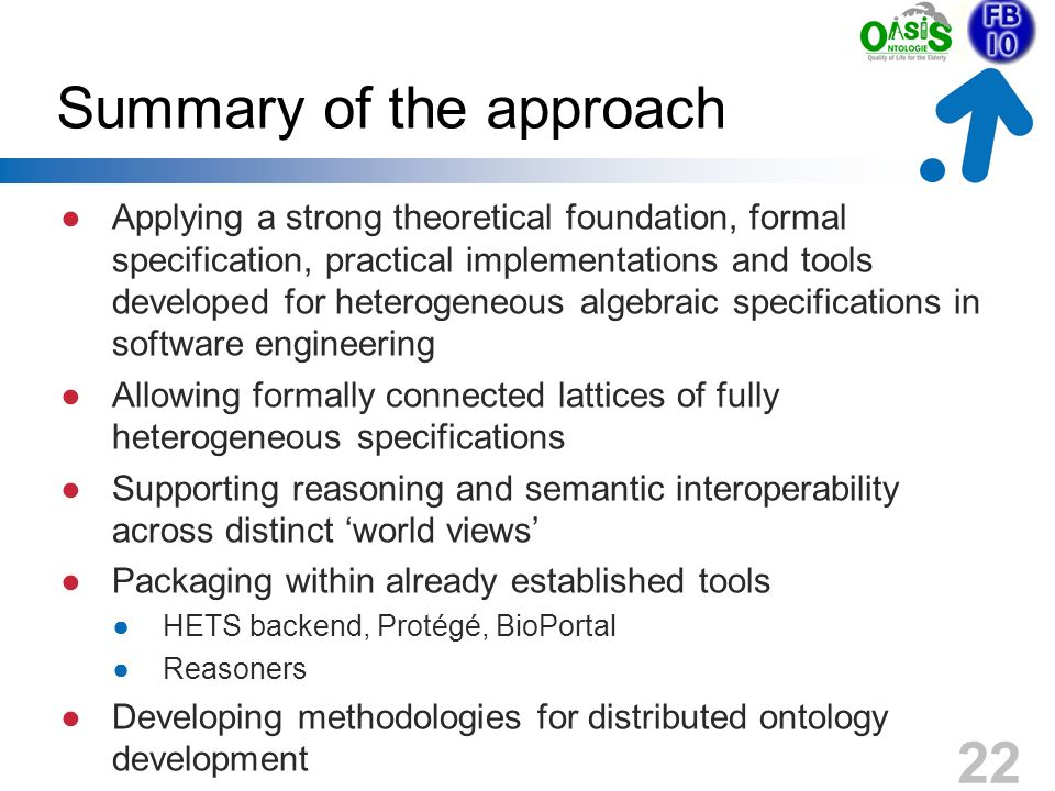 Summary of the approach Applying a strong theoretical foundation, formal specification, practical implementations and tools developed for heterogeneou