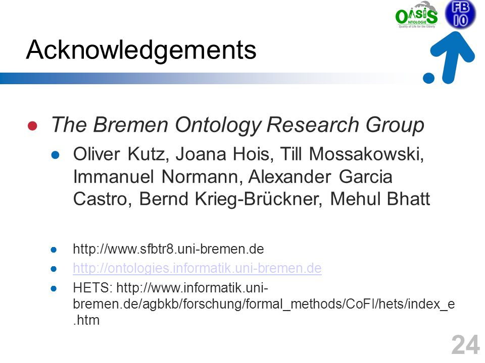 24 Acknowledgements The Bremen Ontology Research Group Oliver Kutz, Joana Hois, Till Mossakowski, Immanuel Normann, Alexander Garcia Castro, Bernd Kri