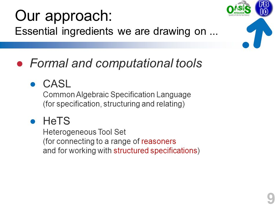 9 Our approach: Essential ingredients we are drawing on... Formal and computational tools CASL Common Algebraic Specification Language (for specificat