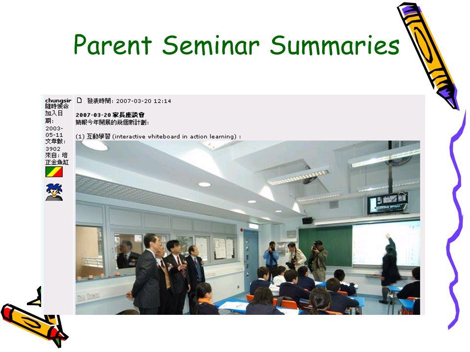Parent Seminar Summaries