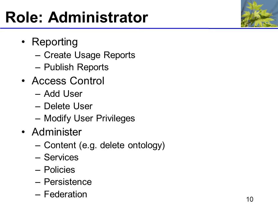 10 Role: Administrator Reporting –Create Usage Reports –Publish Reports Access Control –Add User –Delete User –Modify User Privileges Administer –Content (e.g.