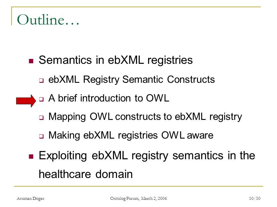 Asuman Dogac Ontolog Forum, March 2, 2006 10/50 Outline… Semantics in ebXML registries ebXML Registry Semantic Constructs A brief introduction to OWL