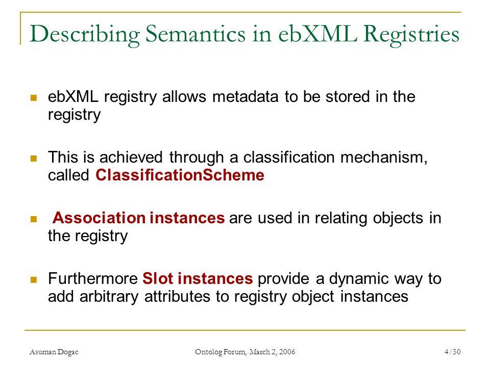 Asuman Dogac Ontolog Forum, March 2, 2006 4/50 Describing Semantics in ebXML Registries ebXML registry allows metadata to be stored in the registry Th