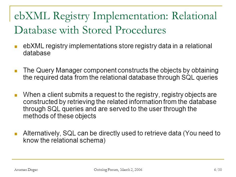Asuman Dogac Ontolog Forum, March 2, 2006 6/50 ebXML Registry Implementation: Relational Database with Stored Procedures ebXML registry implementation