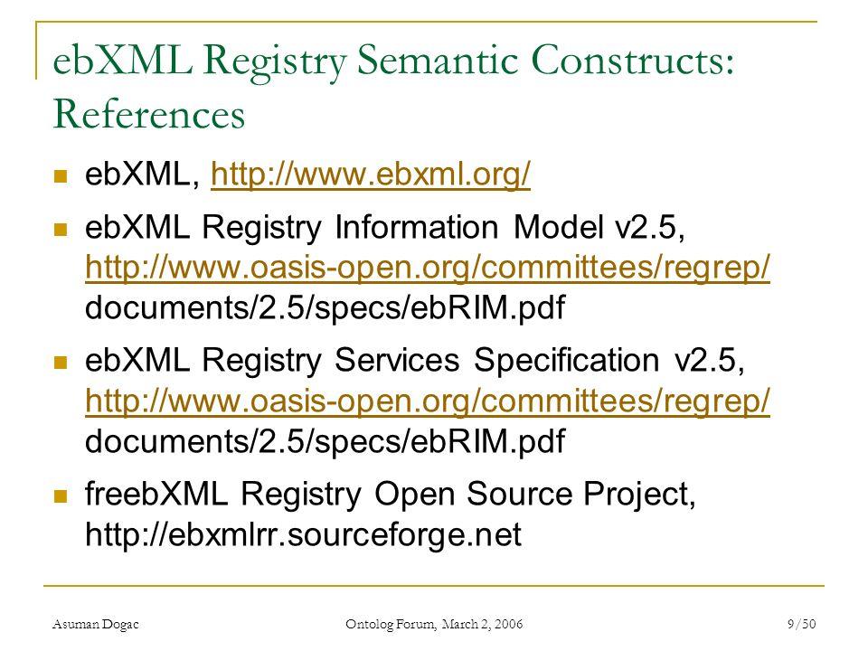 Asuman Dogac Ontolog Forum, March 2, 2006 9/50 ebXML Registry Semantic Constructs: References ebXML, http://www.ebxml.org/http://www.ebxml.org/ ebXML